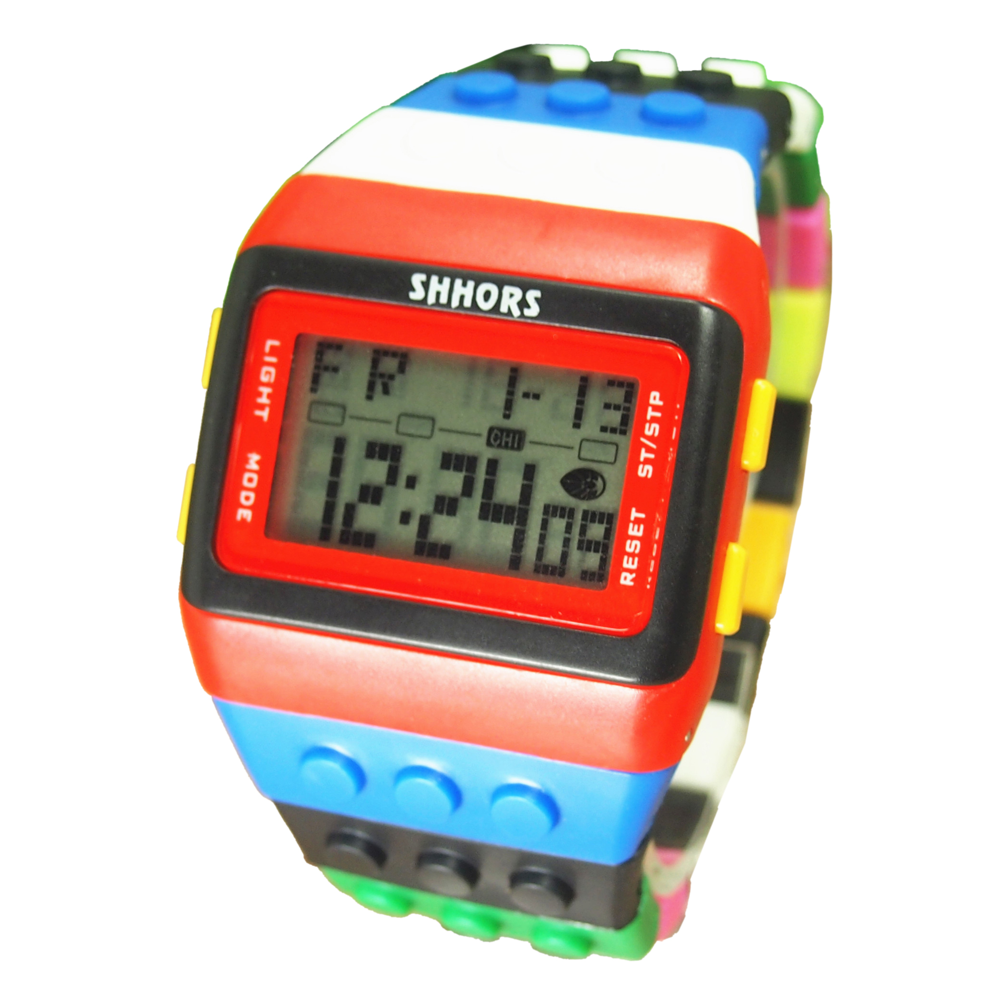 SHHORS Rainbow Color Multifunction Waterproof LED Children Wrist Watch Swimming Sports Watch Digital Wrist Watch (style 8)