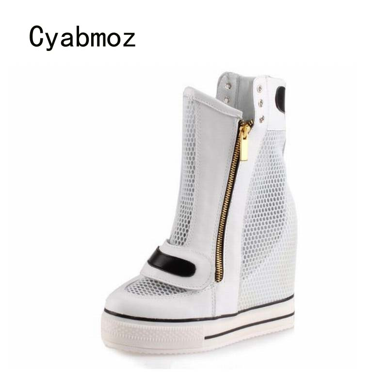 Cyabmoz Fashion Women High top Breathable Mesh Hidden Height increasing High heels Woman White Ladies Casual Shoes Ankle Boots