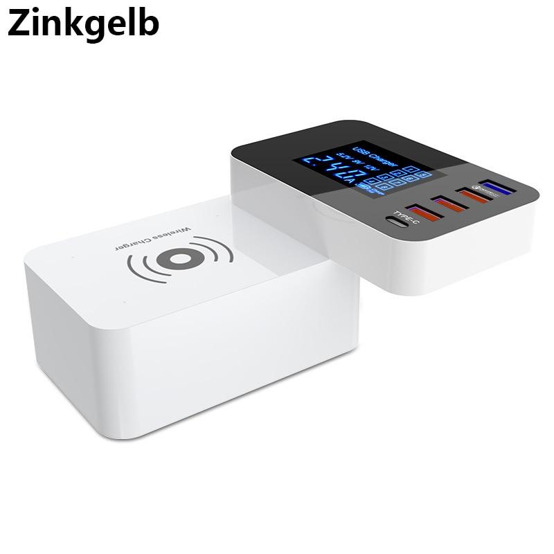 Multi Port USB Charger Station LCD Display Smart Wireless Charger Quick Charge 3.0 USB Charger Type C Dock Hub EU US UK AU Plug