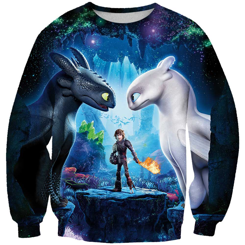 3D Print New Arrival How to Train Your Dragon Mens Printed shirt Loose Pullover Womens Hoodie&Sweatshirts
