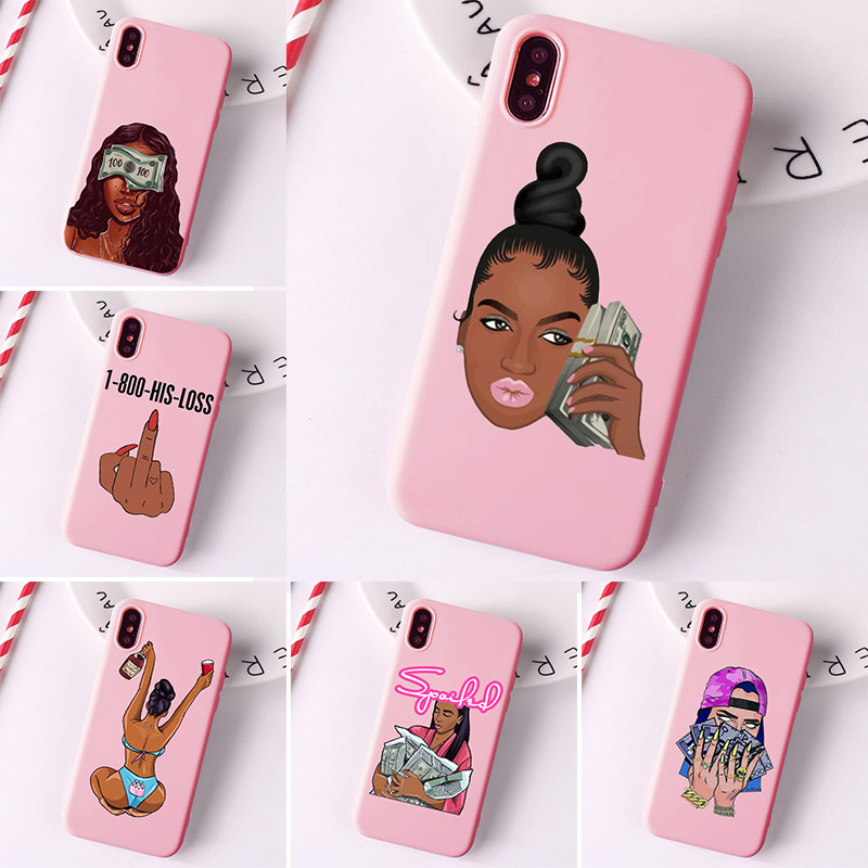 MAKE MONEY Cash Black Head Girl Fundas Phone Case For IPhone 11 Pro Max  X XR XS 8 7 6s Plus Matte Candy Pink Silicone Cases