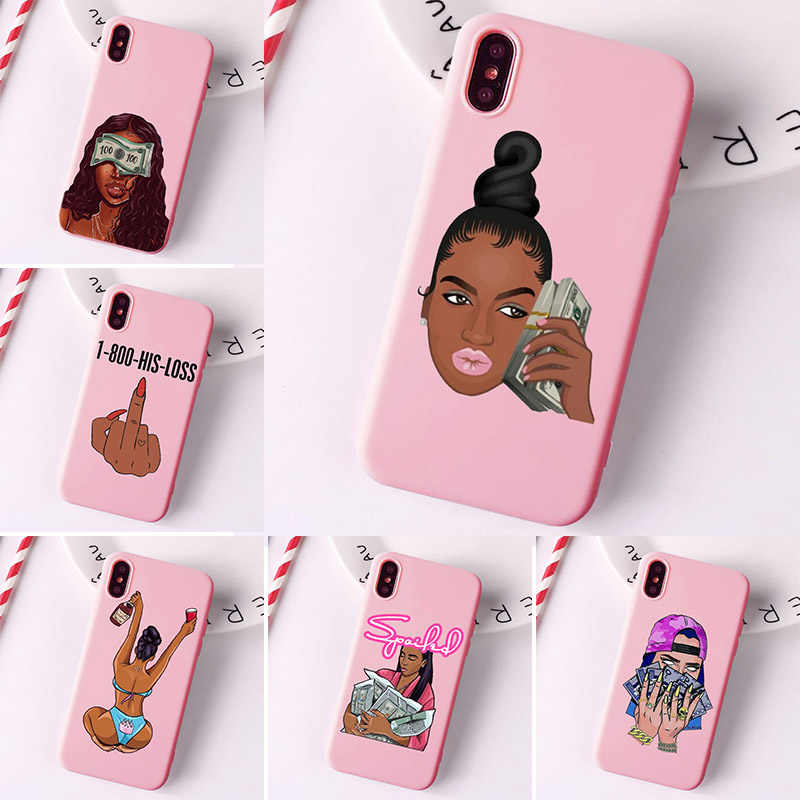 MAKE MONEY Not Friends Kash Black head Girl Fundas phone case for iPhone X XR XS Max 8 7 6s Plus Matte Candy Pink Silicone Case