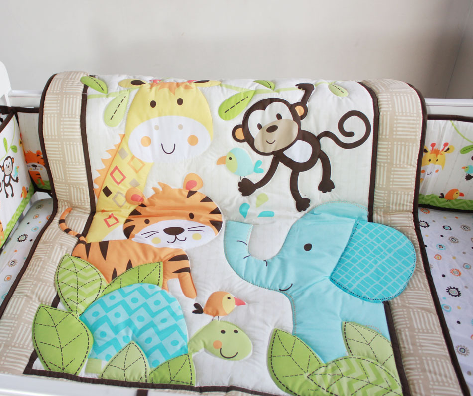 New Happy Jungle Animals Friends Baby Crib Bedding Set