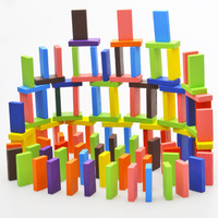 EFHH 120Pcs Set Mix 12 Colors Wooden Kids Children Domino Game Play Toys Gift Fun