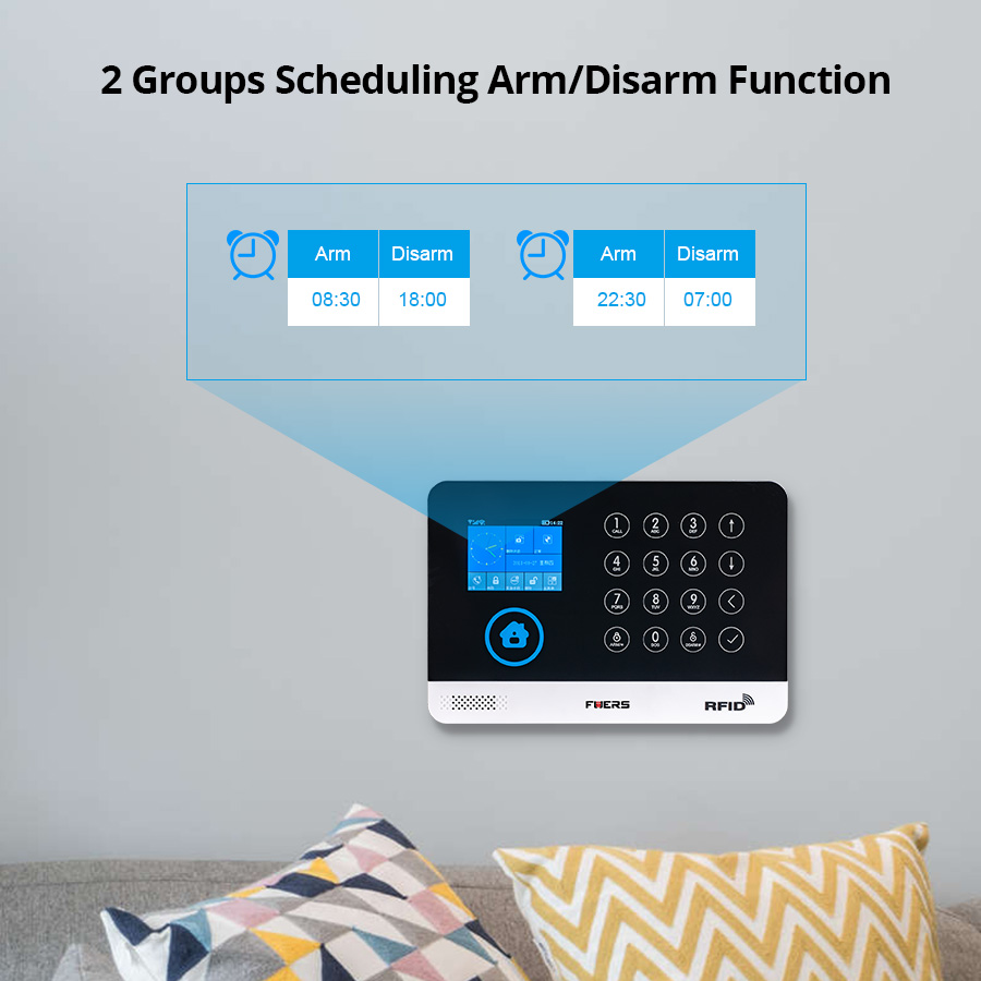 Image 4 - FUERS WIFI GSM  Alarm System Wireless Home Burglar Security Alarm 9 LNG Switchable RFID LCD PIR Smoke Sensor APP Control-in Alarm System Kits from Security & Protection