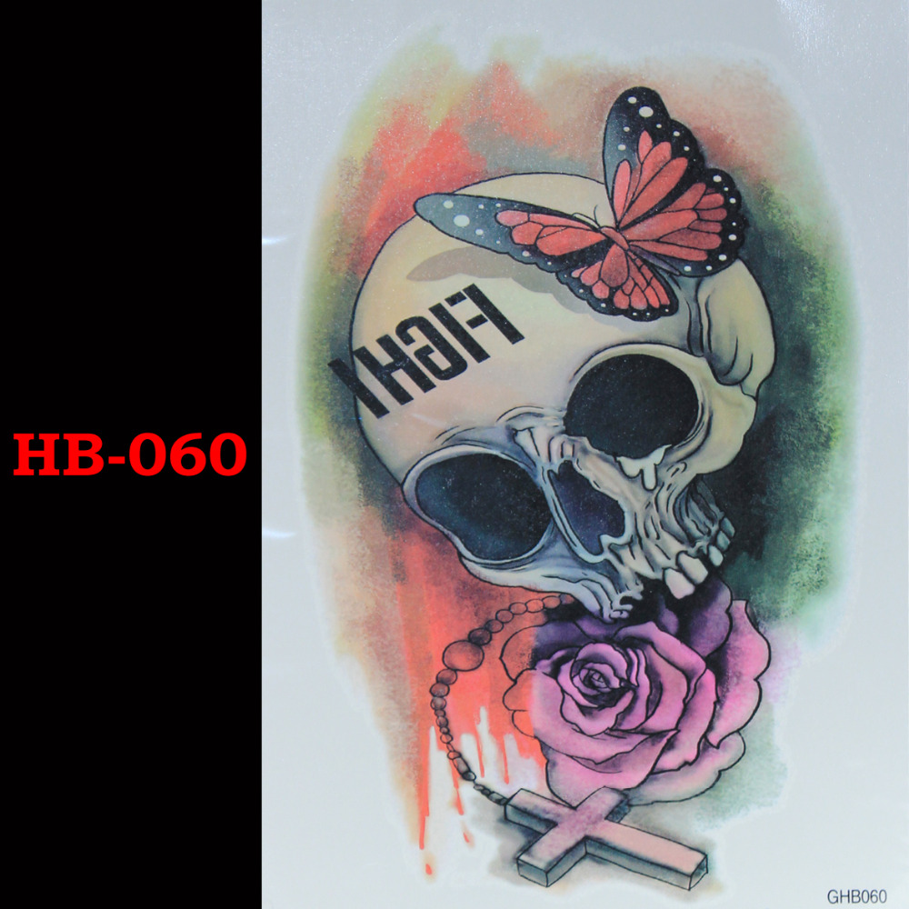 Butterfly Rose Skeleton Tillfälliga Tatto Vattentäta Män Kvinnor 3D Tattoo Arm Sticker Fake Arm Sleeve Body Tattoo Axel Tatueringar