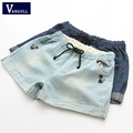 New Women summer Denim Shorts Animal Cat embroidery cotton plus size casual female High waist Jeans shorts woman wearing