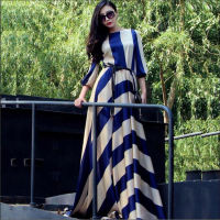 2018 new European and American striped long chiffon dress holiday dress big tow dress large size women's dress