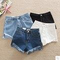 2016 New Fashion Summer Women Denim Shorts Jeans Femme Elastic High Waist Slim Solid Sexy Short Pants Feminino Hot Sale