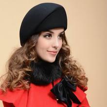 Новая шерстяная шляпа для женщин, для девушек, для вечеринки, фетровая шерсть, берет шапка Кепка, Повседневная теплая шапочка стюардессы, осень и зима, для художника, британская джазовая шапка