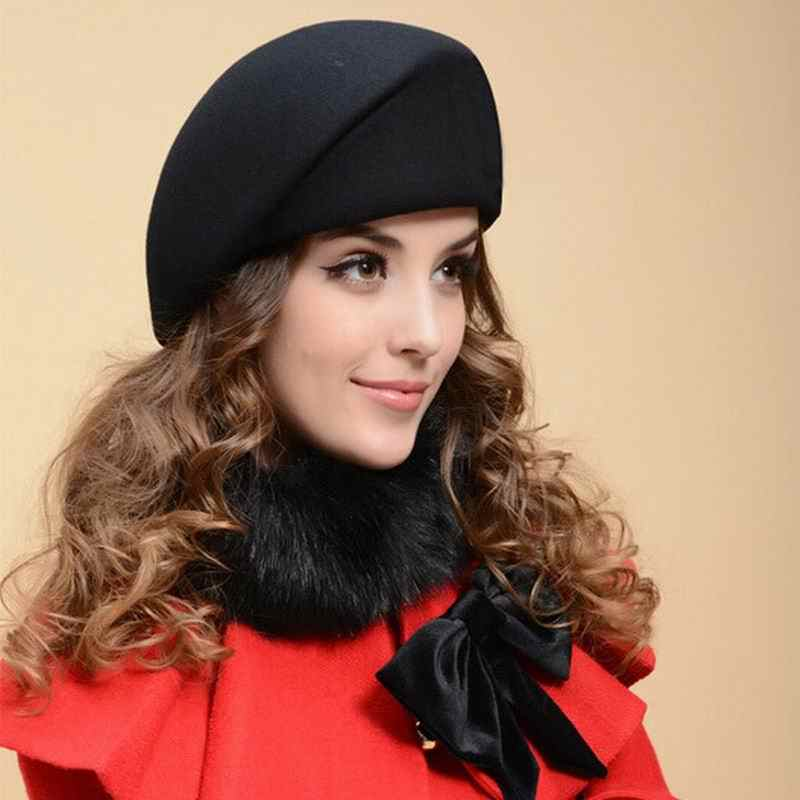 New Wool hat Woman girl party Fedoras wool beret hat cap Casual warm stewardess cap fall and winter painter British jazz hat