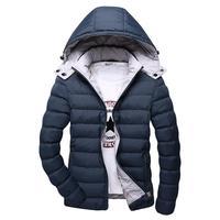 5XL Winter Jacket Men Hat Detachable Warm Coat Cotton Padded Outwear Mens Coats Jackets Hooded Collar