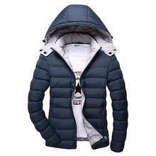 5XL Winter Jacket Men Hat Detachable Warm Coat Cotton-Padded Outwear Mens Coats Jackets Hooded Collar Slim Clothes Thick Parkas