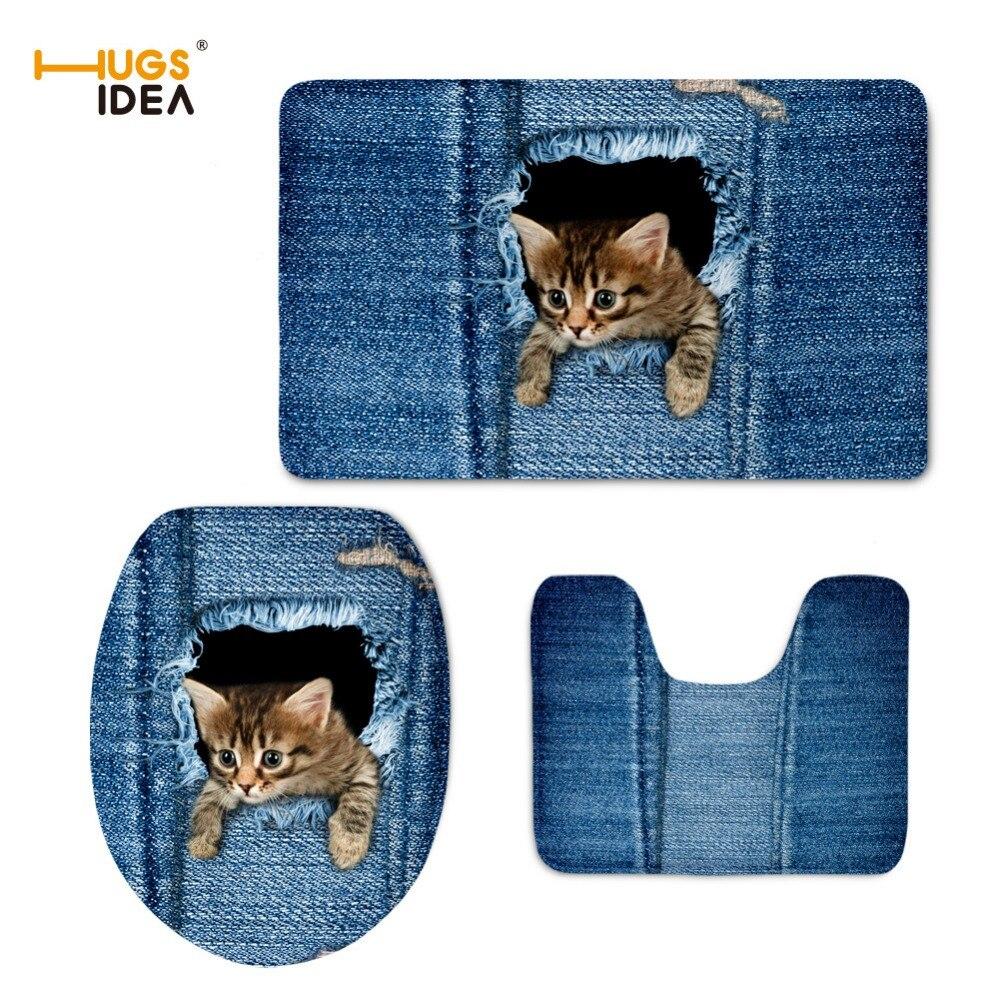 HUGSIDEA Funny Denim 고양이 개 카페트 화장실 바닥 용 미끄럼 방지 매트 3PC / Set WC 시트 Closestool 뚜껑 홈 목욕 장식