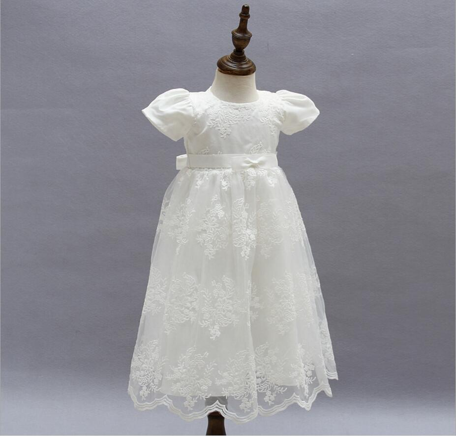 1PC Off White Red Short Sleeve Baby Girl Baptism Christening Long Long Gown Dress Bowknot Baby Girls Party Dress 0-24Months
