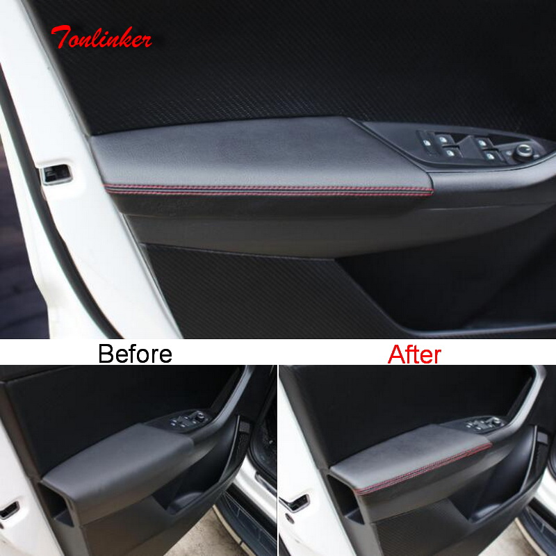 Tonlinker Cover Stickers for SKODA KODIAQ 2017 18 Car Styling 4 PCS PU Leather Interior Door armrest Anti dirty Cover Sticker in Car Anti dirty Pad from Automobiles Motorcycles