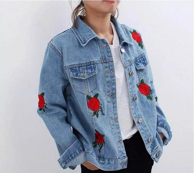 New Fashion Rose Embroidered Denim Jacket Long Sleeve Single