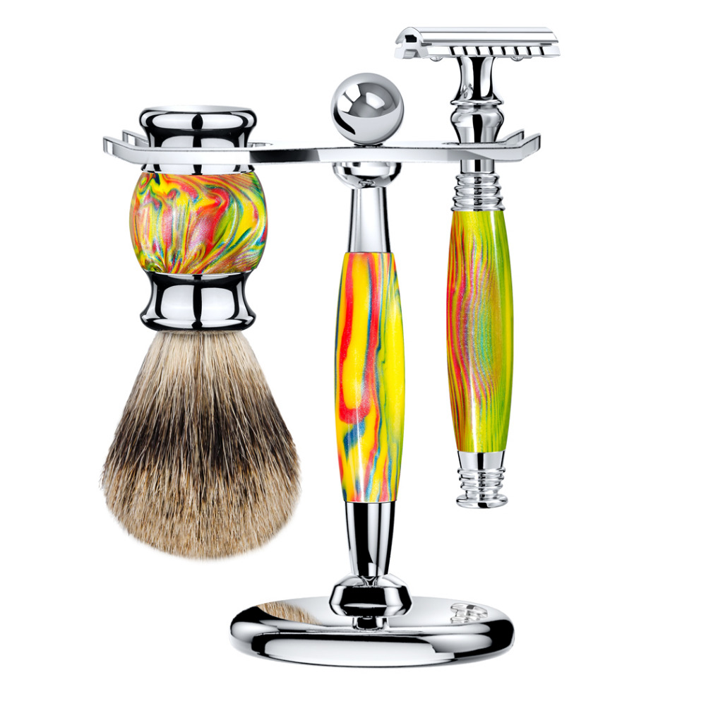 ZY Man Shaving Set Double Edge Safety Razor Open Razors Long Handle +Best Badger Hair Shaving Brush +Stand Holder titan razor brush shaving brush with wooden handle best badger hair brush
