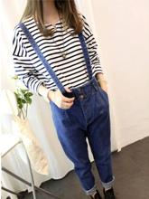 Autumn Removable Strap Harem Jeans Overalls 2017 Female Plus Size Elastic Waist and Cuffs Ankle Length