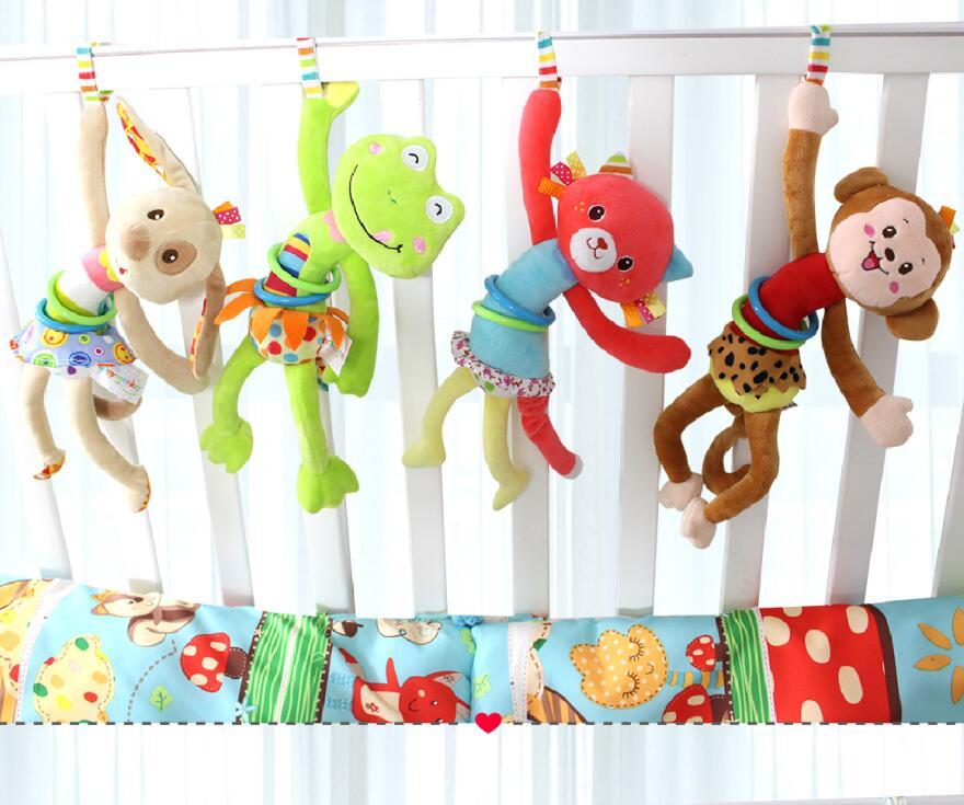 Animal Hand Bell <font><b>Baby</b></font> Plush <font><b>Pram</b></font> Car Stroller hanging Rings pull shock Rattles <font><b>Toys</b></font> For <font><b>Baby</b></font> Development Gifts 20% off