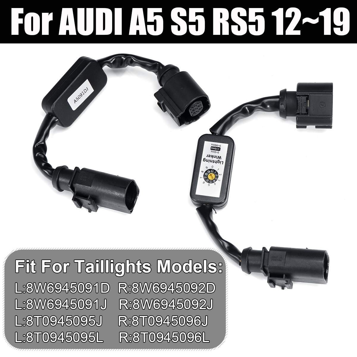 NEW 2 Pcs Black Dynamic Turn Signal Indicator LED Taillight Add on Module Cable Wire Harness For AUDI A5 S5 RS5 12~19 Tail Light