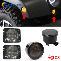 Combo Smoke Lens Yellow LED Front Replacement Turn Signal Light Fender Side Marker Light Assembly For