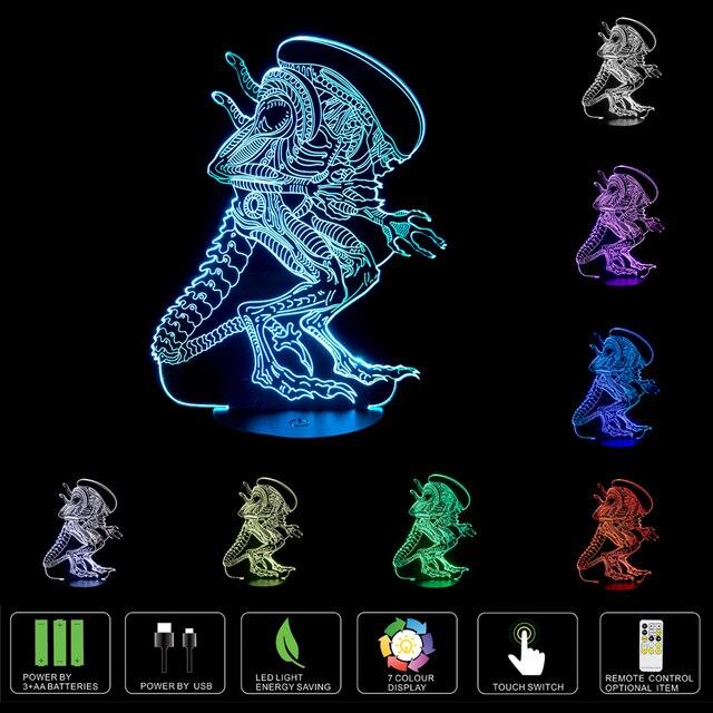 3D Lampe USB Power 7 Farben Erstaunliche Optische Täuschung 3D Wachsen Led  Lampe Alien Formen