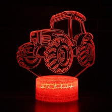 3D LED Night Light Dynamic Tractor Car with 7 Colors Light for Home Decoration Lamp Amazing Visualization Optical Illusion 3d led night light dynamic tractor car with 7 colors light for home decoration lamp amazing visualization optical illusion
