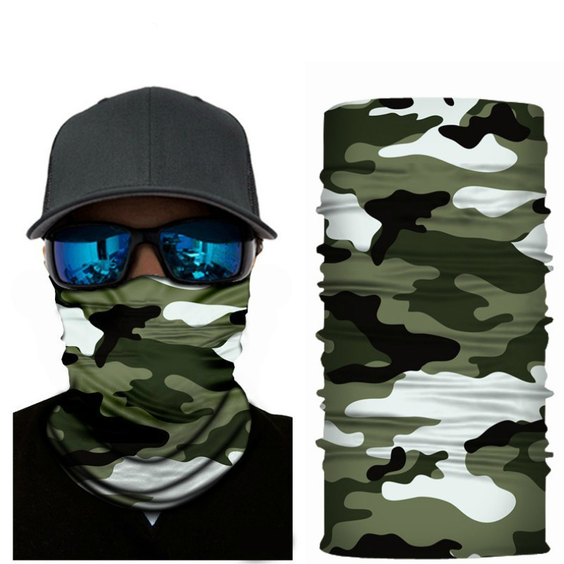 2pc Green Skull Face Ghoul Pattern Neck Shield Seamless Bandana Wind Protector