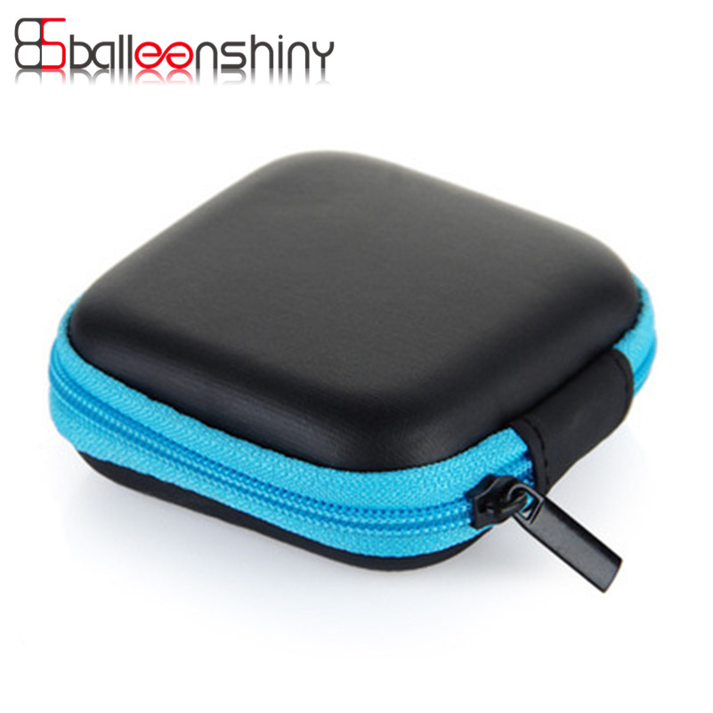 balleenshiny mini square headphone wire case container zipper data cable sd card storage bag. Black Bedroom Furniture Sets. Home Design Ideas