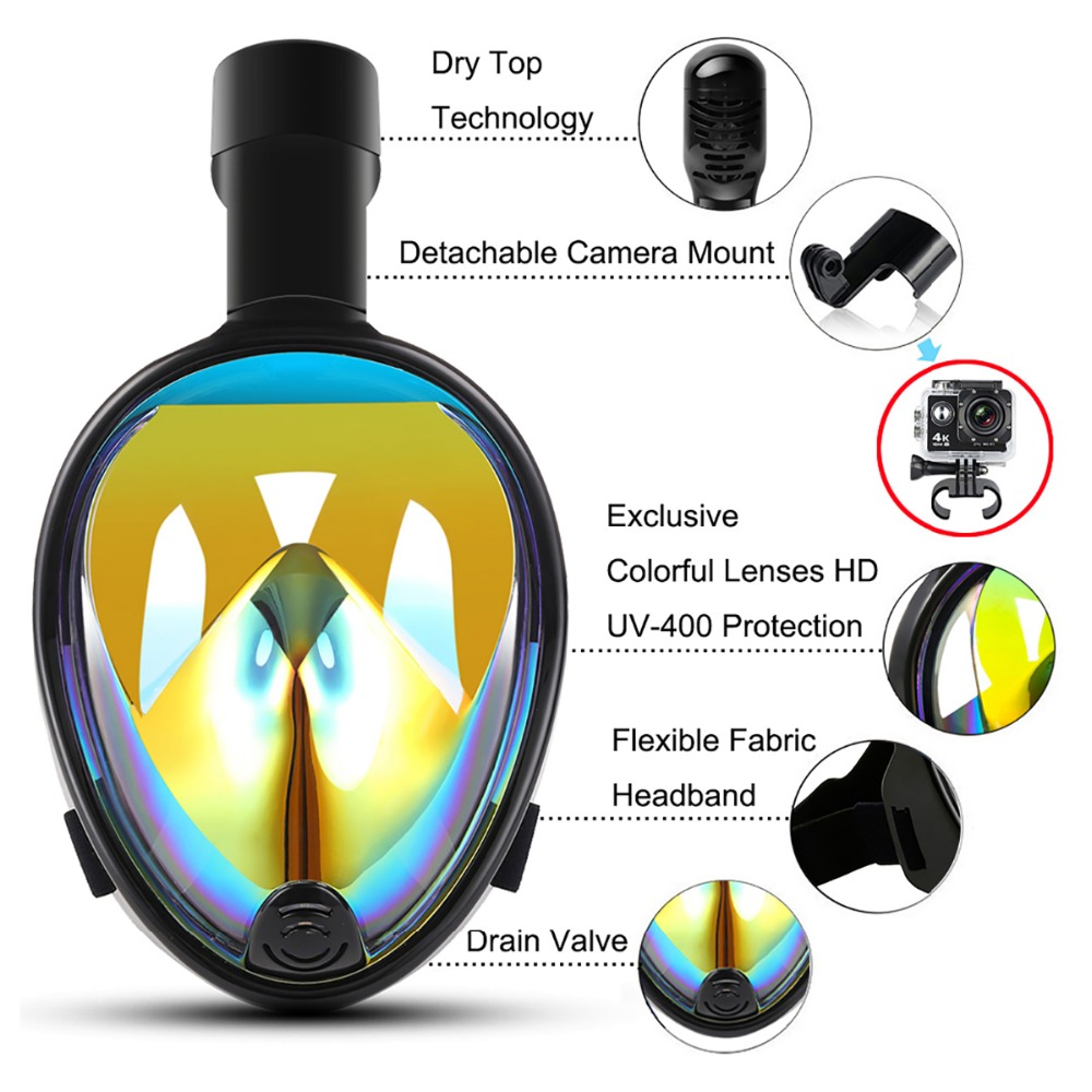 2018 YaHey New Full Face Snorkeling Mask Anti-fog Anti-leak Swimming Scuba Underwater Diving Mask with Waterproof Phone Pouch