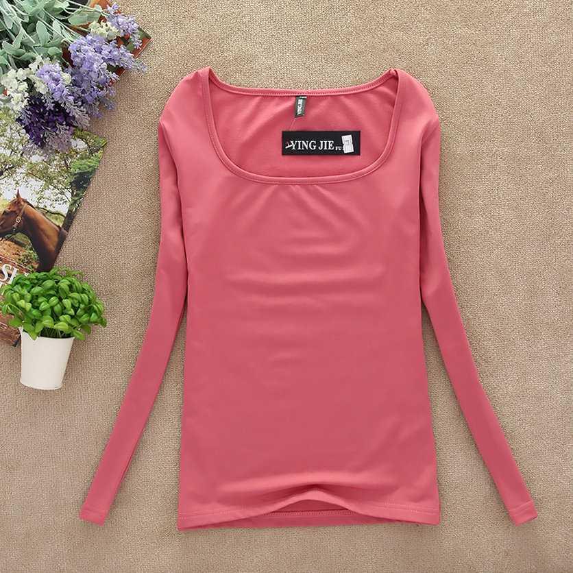 New 2018 winter T Shirt Women Long Sleeve spring Tops & tees Fashion Women basic shirt T-shirt casual candy color underware