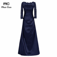 2018 A Line Bateau 3/4 Sleeves Navy Blue Long dress for graduation mother of the bride dresses for weddings with Ruches
