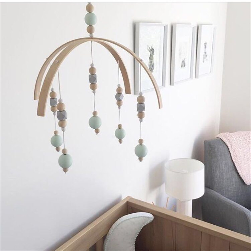 Nordic nursery wooden peal baby girl mobile decor hanging for Mobili wooden art
