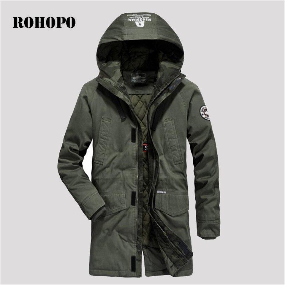 ROHOPO Parkas abrigo invierno parka militar de los hombres desmontable espesor táctico hombre abrigo tropas Punk hombre ejército chaqueta de abrigo