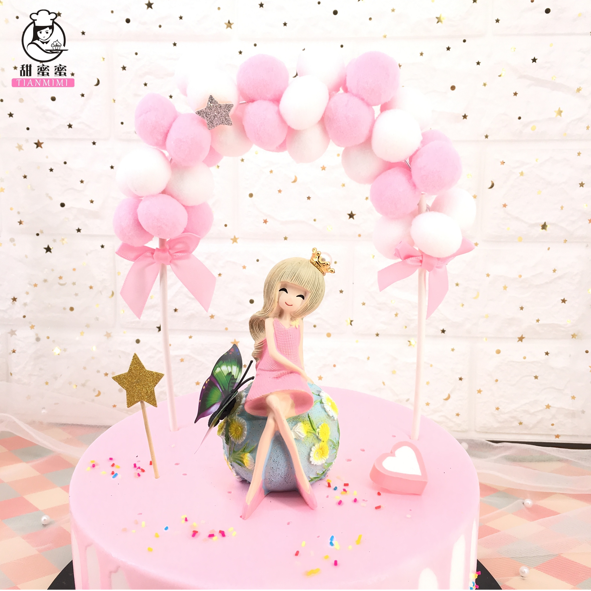 ONE year Pompon Cake Toppers First Birthday Cake Flag Baby Shower Party Decor OF