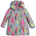2016 Girls baby colorful Feather printed cotton-padded coat princess waistband windbreaker Winter jacket Wholesale