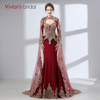 2017 Arabic Mermaid Evening Gowns Women Kaftan Dubai Evening Dresses Appliques Red Satin Long Sleeve Muslim