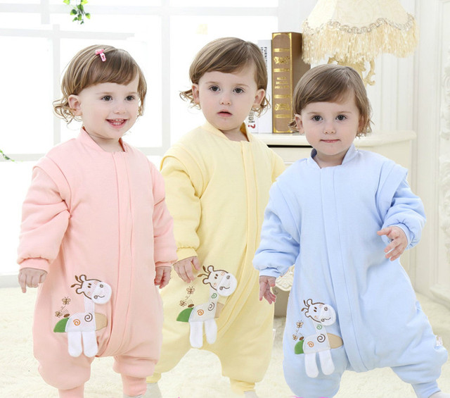 0-5 year-old baby sleeping bag split legs baby cotton sleeping bag anti-kick quilt detachable sleeves children winter thickening