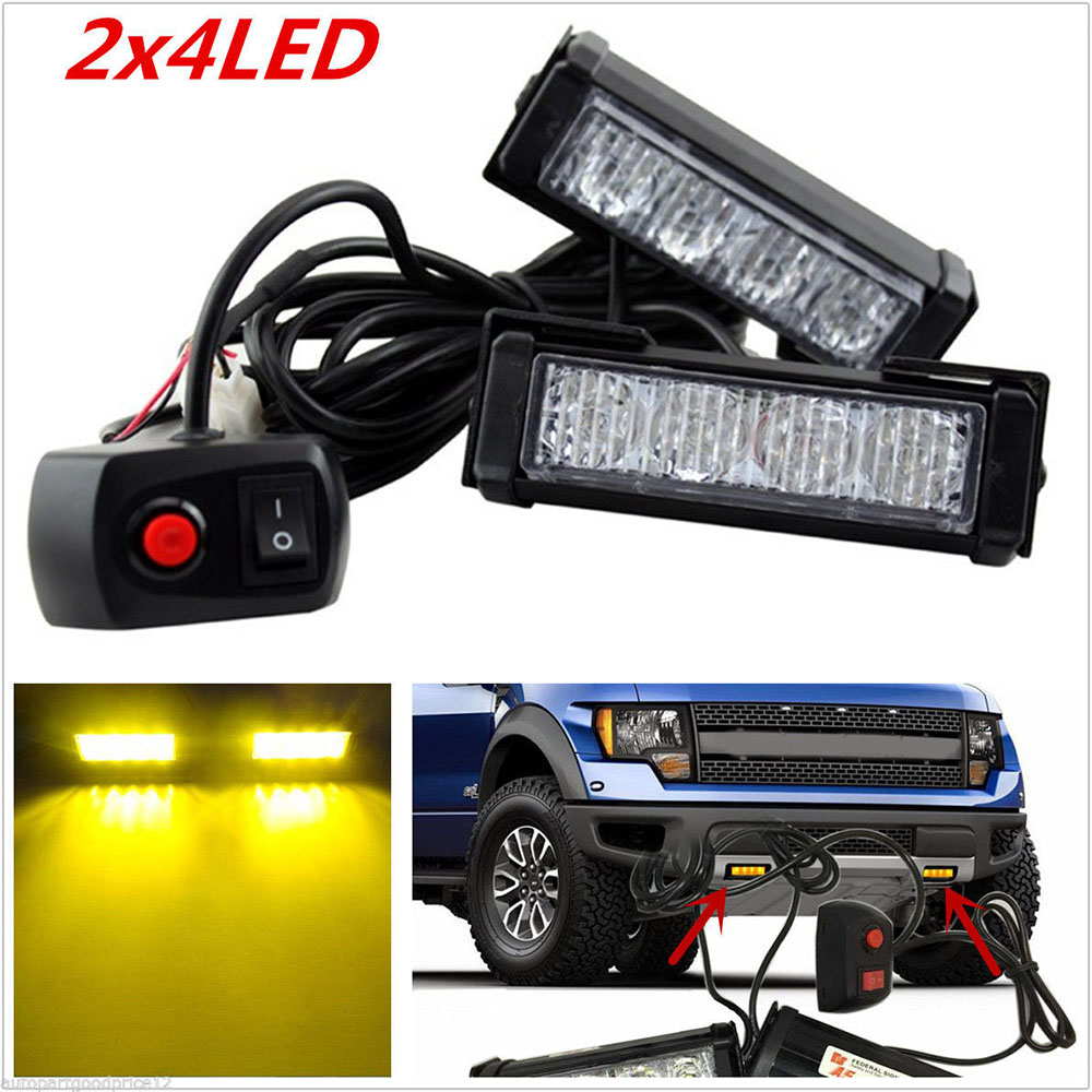 Super Bright 12V 24W 4LED Car Strobe Flashing Emergency Light Truck Police Fireman Warning LED Lights for Cars Amber bright amber 24 led strobe light warning emergency flashing car truck construction car vehicle safety 7 flash modes 12v