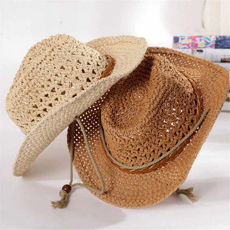 3860b6af ... Summer Autumn 54cm Children Caps Cowgirls Cowboy Hats for Kids Stars  Pattern Straw Caps with Cable