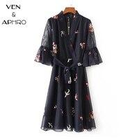 VA Women Mesh Dress Embroidery Elegant Dress 2017 Autumn V Neck Belt Ladis Vestidos