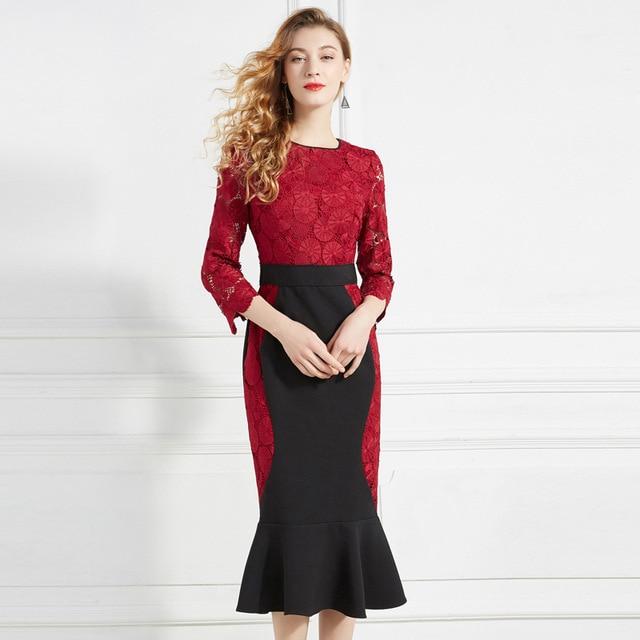 XXXL Dress Vestidos 2019 Spring Autumn Fashion Lace Dress Women O-Neck 3/4 Sleeve Bodycon Sexy Party Mermaid Dress Green Red