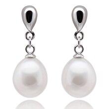 FEIGE Joyería Fina de Plata de Ley 925 Pendientes de Gota de Las Mujeres 8-9mm en forma de Arroz Cultivadas de agua dulce Naturales Pendientes de perlas