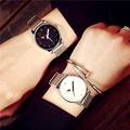 Mulheres marca Vestido de Relógios Analógicos simples Dial Banda de malha de Aço Pulseira de relógio de pulso masculino Relógio Do Esporte ocasional relógio de Quartzo Relógio de Senhora Menina