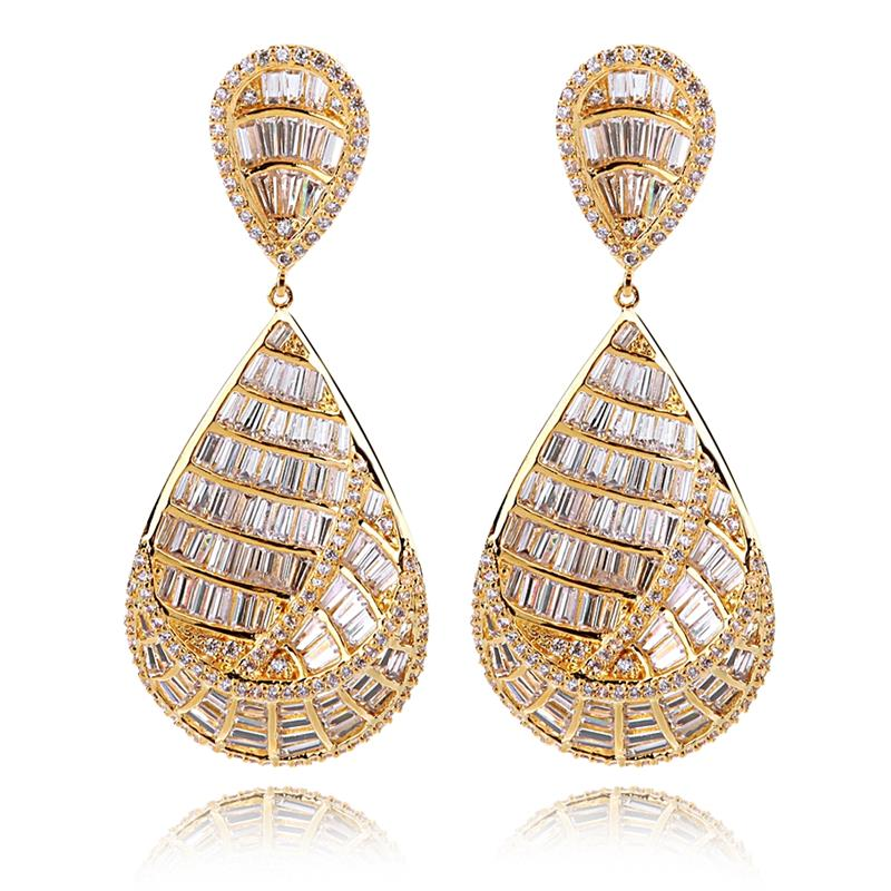 все цены на Unique Hyperbole Fashion Drop Earrings for Women Gold Plating Female Paved With Luxury AAA Cubic Zirconia Earrings Free Shipping