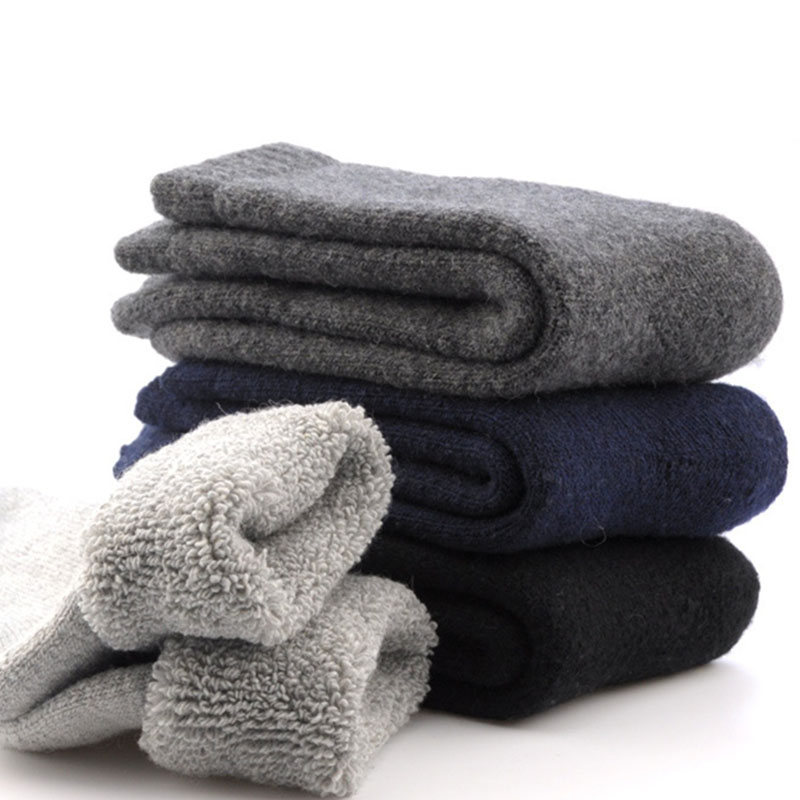 3 Pairs Men Socks Winter Durable Canada 30 Degrees Below Zero Resist Cold Wool Socks Men Thicken Pile Casual Fashion Calcetines