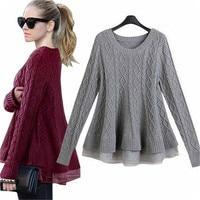 유럽 여성 패치 워크 레이스 스웨터 판초 긴 소매 O 목 프릴 스웨터 여성 캐주얼 새로운 패션 Peplum 니트웨어