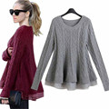European Women Patchwork Lace Sweater Poncho Long Sleeve O-Neck Ruffles Pullovers Female Casual New Fashion Peplum Knitwear