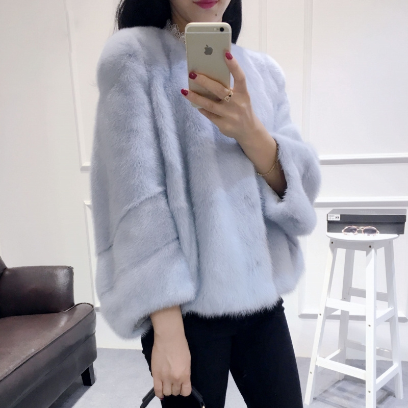 Female Real Mink Fur Jacket Young Women Whole Mink O-neck Coat Spring Autumn Winter Short Popular Slim Hot Sale Outerwear
